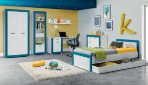 Harmonia Dětský pokoj pro kluky Twin - bílá/modrá 90x200cm
