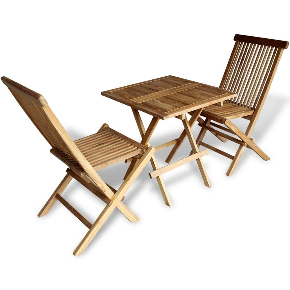 Zahradní nábytek bistro set, 3 kusy, teak, skládací