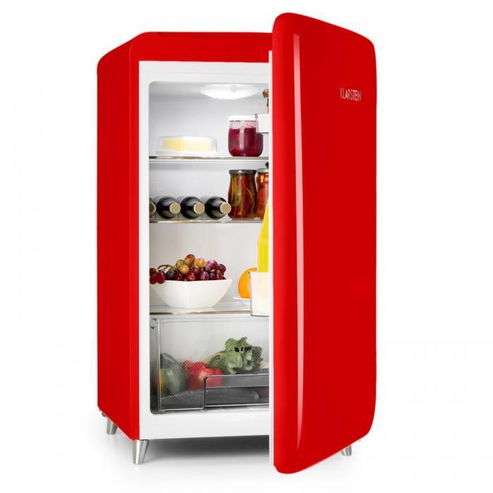 Klarstein PopArt-Bar červená chladnička, 136L retro design, 3 patra, přihrádka na zeleninu, A +