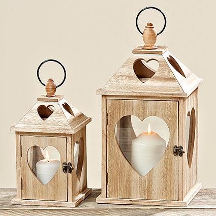 Dřevěná lucerna se srdcem 38 cm - větší, La Almara