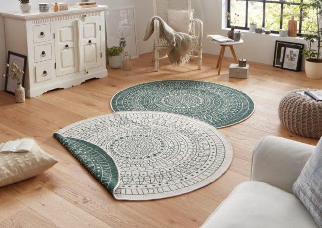 Zelený vzorovaný oboustranný koberec vhodný i na ven bougari Porto, Ø 200 cm