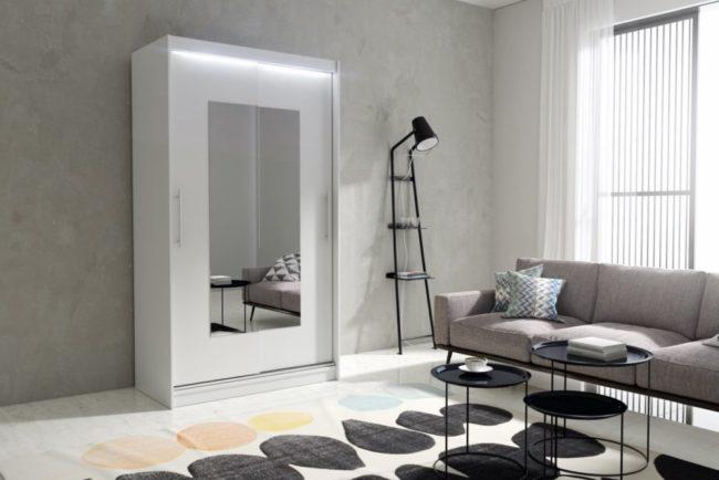 Kvalitní šatní skříň KOLA 4 bílá šířka 120 cm Bez LED osvětlení