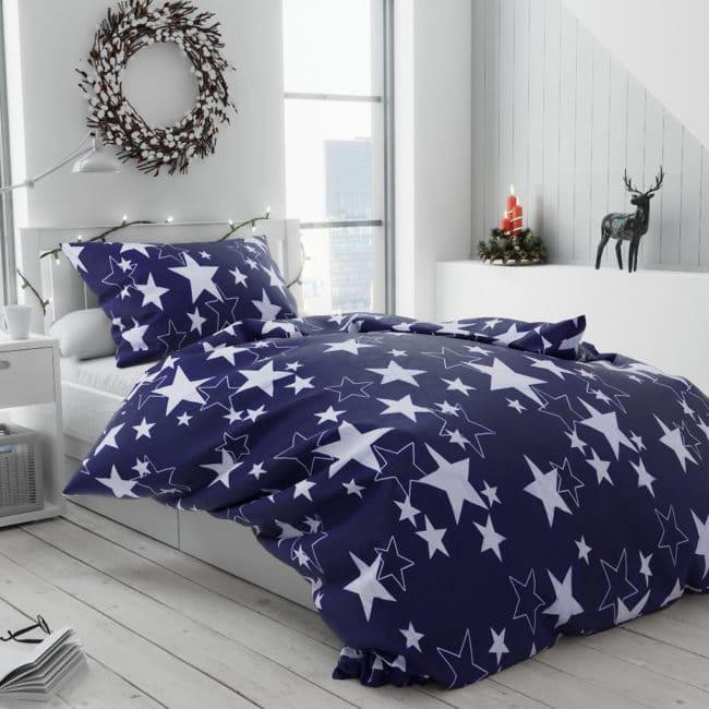 Bavlněné povlečení Star tmavě modrá