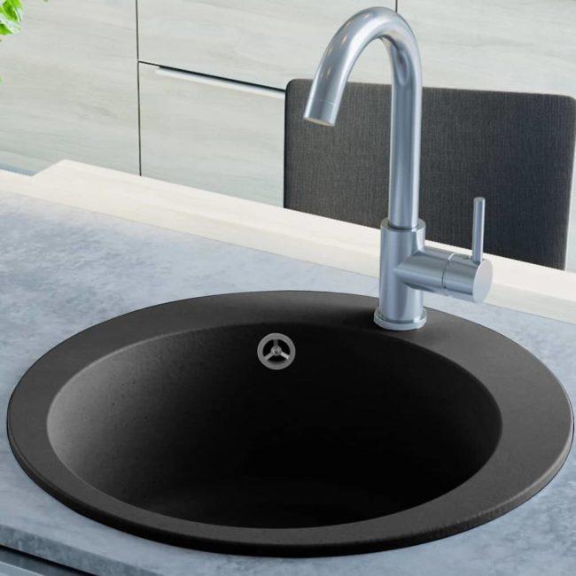 Kuchyňský dřez single žulový kulatý černý