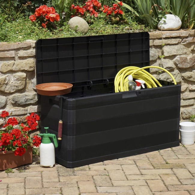 Zahradní úložný box na nářadí a polstry ELEGANCE 280 L - barva černá