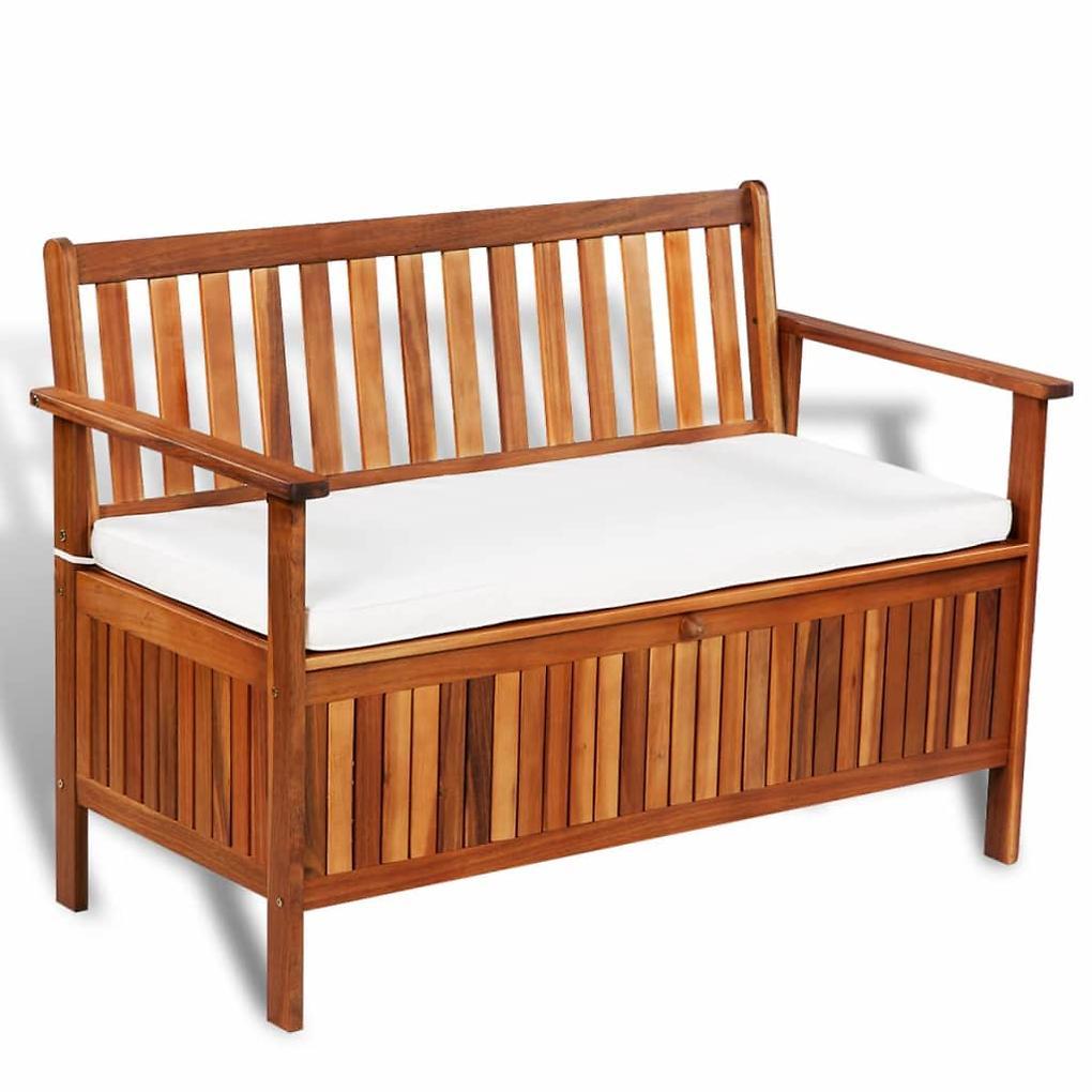 vidaXL Zahradní úložná lavice 120 x 63 x 84 cm masivní akáciové dřevo