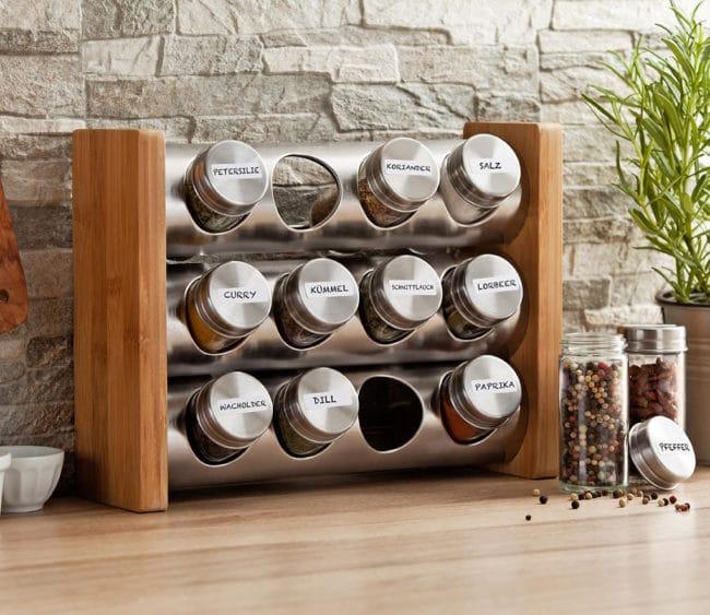 Bambusový stojan s kořenkami - 12 kusů