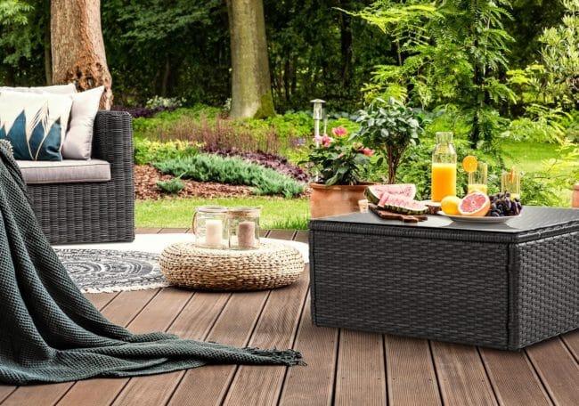 Blumfeldt Theia, odkládací stolek, polyratan, skleněná deska, černý