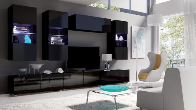 Obývací stěna KALABRY C černý lesk bez LED osvětlení