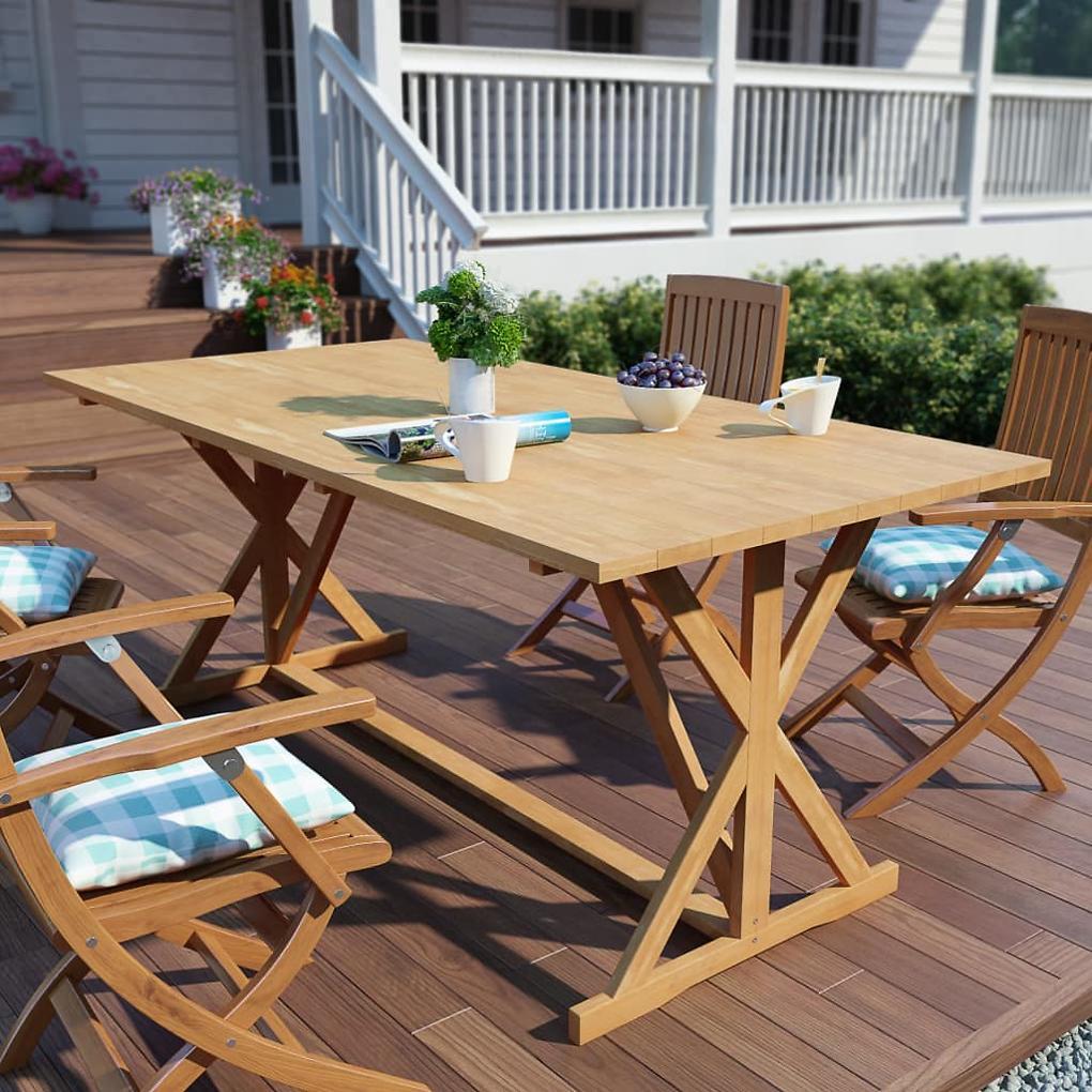 Zahradní jídelní stůl z masivního teaku 180 x 90 x 75 cm