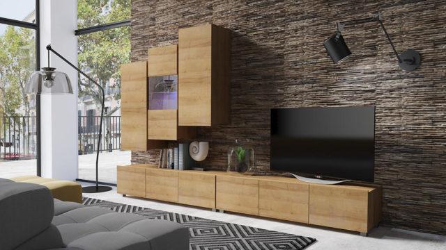 Obývací stěna KALABRY F dub zlatý bez LED osvětlení