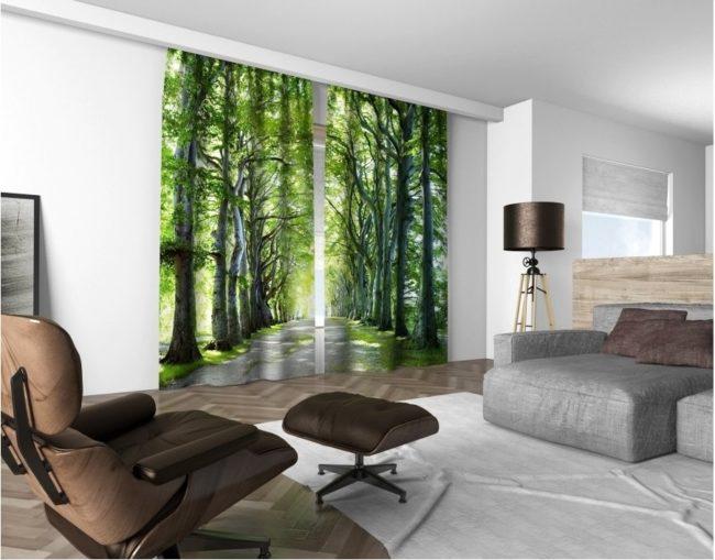3D dekorační závěs 313V BŘEZOVÁ ALEJ 2x160x250 cm set 2 kusy MyBestHome