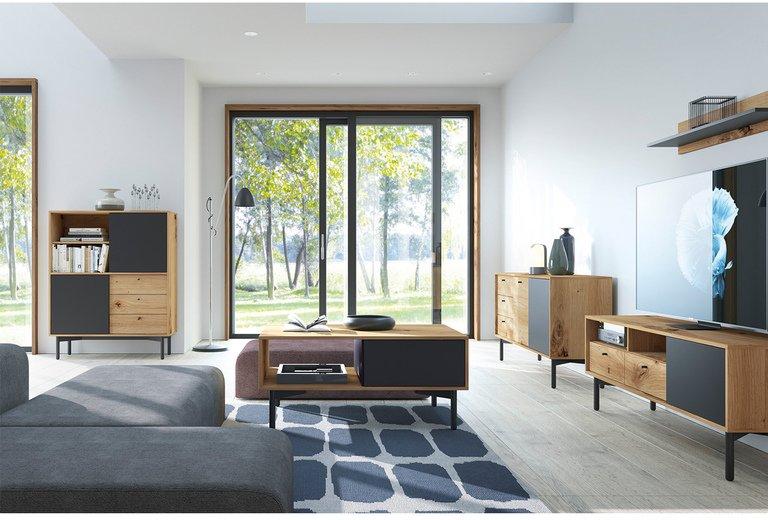 moderní obývací pokoj s komodami