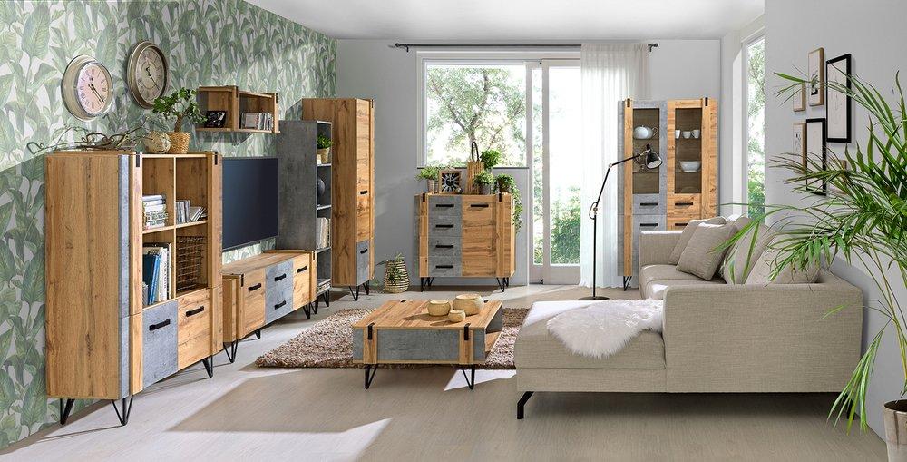 moderní obývací pokoj s masivním nábytkem